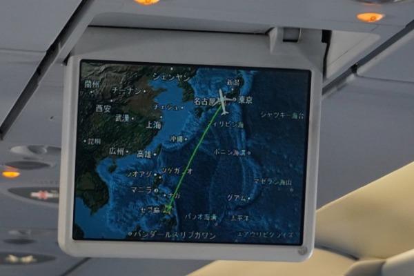 セントレア/セブ直行便レポート エコノミークラス 共用モニター
