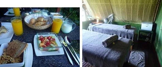 (とても美味しい朝食でした)       (ツリースパのお部屋です)