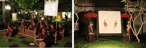 ガムラン隊               脇にはワヤンクリが飾られていました