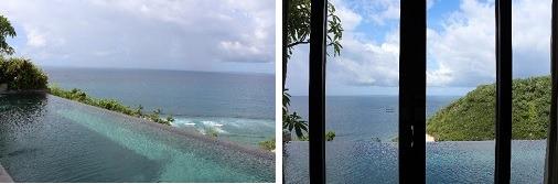 プールから海に入れそうな印象も     ベッドルーからの景観
