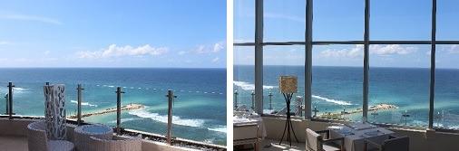 屋外では心地よい風を感じられ、屋内では大きなガラス越しに海を臨めます。