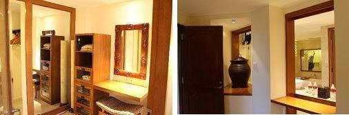 パウダールーム??           ベッドからは鏡越しにシャワールームが丸見え!