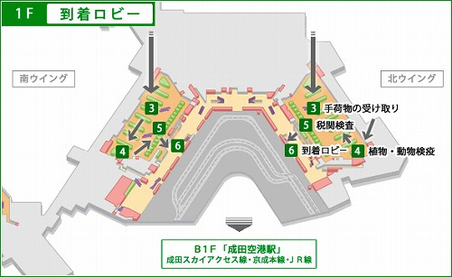 成田空港南ウイング1F マップ