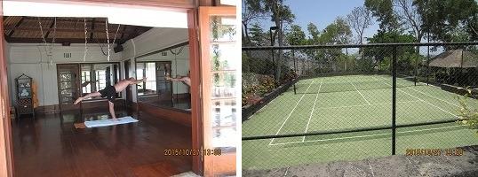 フォーシーズンリゾート バリ アット ジンバランベイ ヨガスタジオとテニスコート