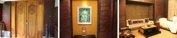 高級感が漂うドアをあけると出迎えてくれるウブドらしい絵画  ゆったりとしたリビング+エキストラベット