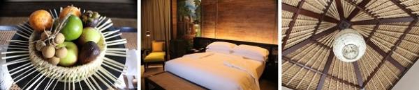 種類豊富なウェルカムフルーツ  ベッドルームにも大きな絵画   天井もオシャレ