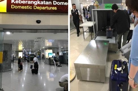 まず、デンパサール空港の国内線ターミナルへ → 受託手荷物の検査をして →