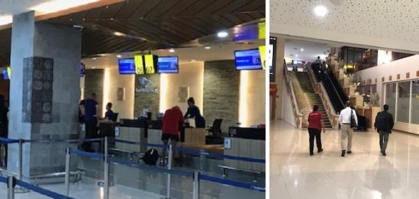 チェックインカウンターで搭乗券を受け取り →      持込手荷物の検査をした後2階へ移動します。