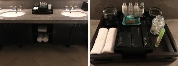 2ベッドルームプールヴィラ 洗面台とアメニティ