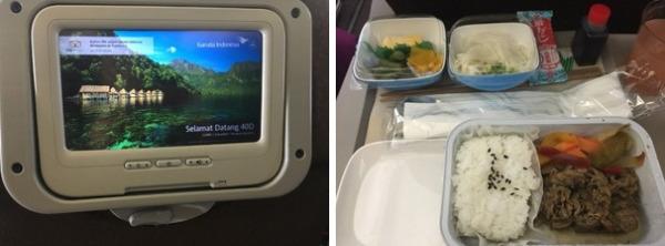 USBの差込口はありませんでした        機内食は和食をチョイス、美味しく頂きました