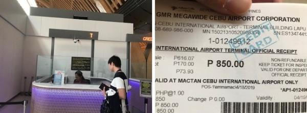 セブ島空港税の支払いカウンター